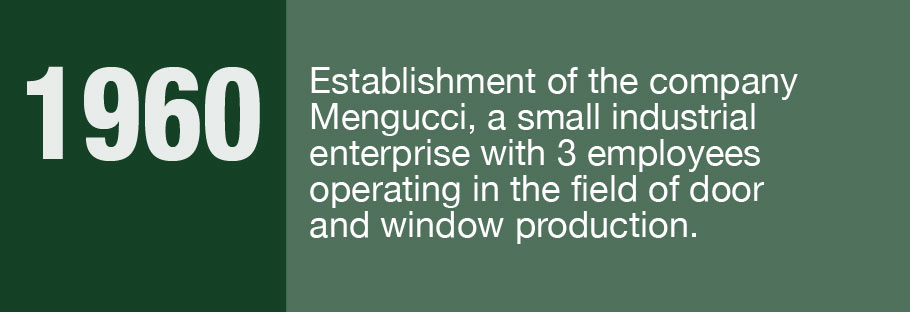 1960: Establishment of the company Mengucci, a small industrial enterprise with 3 employees operating in the field of door and window production.