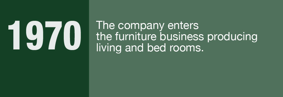 1970: The company enters the furniture business producing living and bed rooms.