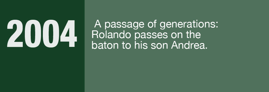 2004: A passage of generations: Rolando passes on the baton to his son Andrea.