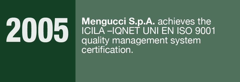 2005: Mengucci S.r.l. achieves the ICILA-IQNET UNI EN ISO 9001 quality management system certification.