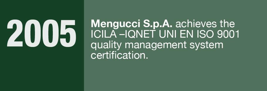 2005: Mengucci S.p.A. achieves the ICILA-IQNET UNI EN ISO 9001 quality management system certification.