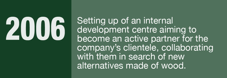 2006: Setting up of an internal development centre aiming to become an active partner for the company's clientele, collaborating with them in search of new alternatives made of wood.