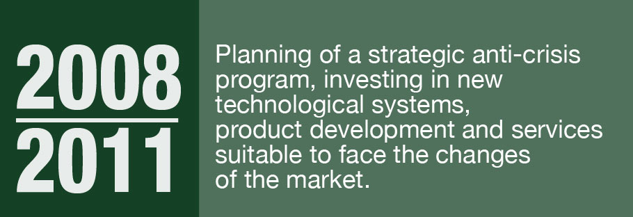 2008-2011: Planning of a strategic anti-crisis program, investing in new technological systems, product development and services suitable to face the changes of the market.