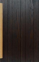 Brushed stratified oak cabinet front door, dark brown finish with light oak handle