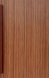 Veneered cabinet front door with wooden handle