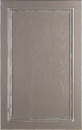 Ash wood kitchen cabinet front door; lacquered Smoke gray with a white and silver patina