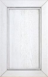 Ashwood kitchen cabinet door lacquered White decap� with silver patina