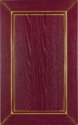 Ashwood kitchen cabinet door lacquered Red decap� with golden patina