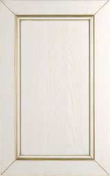 Ashwood kitchen cabinet door lacquered Cream decap� with golden patina