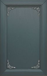 Ash wood kitchen cabinet front door; lacquered Night blue with decorations silver