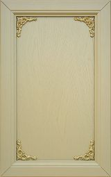 Ash wood kitchen cabinet front door; lacquered Chamois with decorations bronze