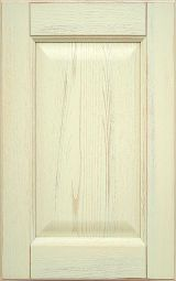 Ashwood kitchen cabinet front door, lacquered Cream with decap� finishing