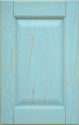 Ashwood kitchen cabinet front door, laquered Light Blue with decap� finishing