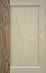 Ash wood kitchen cabinet front door with frame in solid wood; two-coloured finishing: lacquering mink matched to  painting tobacco