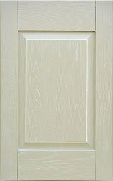 Kitchen cabinet front door in brushed solid ashwood, lacquered Mink with white patina